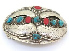 .Ornate Vintage Mexican Nickel Turquoise & Coral Gem Set Belt Buckle 88.7g