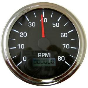 """Tachometer, 3-3/8""""/86mm,LED light, programmable, 8K RPM, black/chrome, 001-TA-BC"""