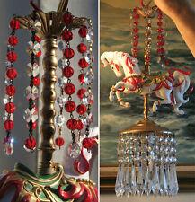Porcelain Horse Carousel Lamp Ceiling Chandelier Vintage Crystal RED poinsettia