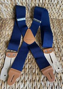 """Carhartt Dungaree Suspenders 2"""" Adjustable Work & Hunter Suspender Belt Navy 46"""""""