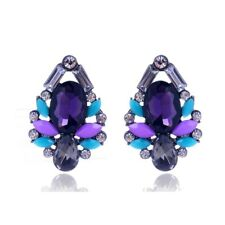 Beautiful Purple Sky Blue Grey White Crystal Cluster Fashion Statement Earrings