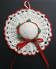 Vintage Hand-Crochet Doily Pin-Cushion Hat; White Crochet-Thread + Red & Green