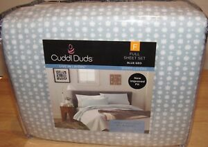 Cuddl Duds Flannel Full Sheet Set Blue Geo Heavyweight Brushed Cotton NEW