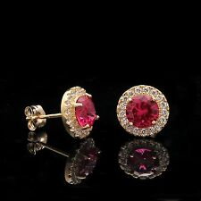 2CT Round Halo Red Ruby Created Diamond Round Stud Earrings 14k Yellow Gold