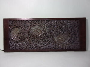 ANTIQUE ANGLO-INDIAN CARVED WOOD PANEL, 3 'FLOWERS'.