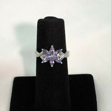 .80 CTW Genuine Tanzanite with Accent Diamonds 10 KT White Gold Ring Size 7 NEW