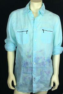 Claudio Milano Men's Casual Shirts Blue Tie Dye Linen Size XL