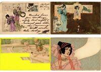 ART NOUVEAU & ART DECO 29 Vintage Postcards ALL POOR CONDITION (L2714)