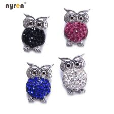 5pcs Cute Owl Rhinestone Snap Charms 18mm Snap Button For 20mm Snaps Jewelry 08