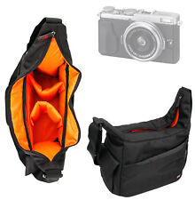 Black & Orange Shoulder 'Sling' Bag With Padded Interior for Fujifilm X70 Camera