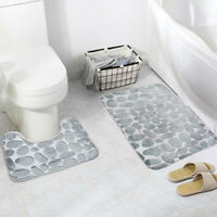 2PCs/Set Bathroom Toilet Mat Non Slip Extra Mat Suction Grip With Rubber Backing