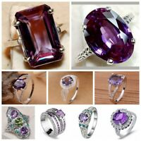 925 Silver Amethyst Purple Gemstone Rings Crystal Women Band Party Jewelry Ring