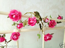 2 x Rose Flower Garland Cerise Dark Pink Shabby Vintage Chic Wedding Home Roses