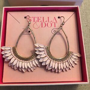 Stella & Dot Pegasus Earrings Rose Gold and Pink Enamel