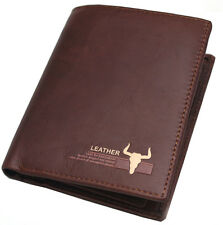 Mens Genuine Leather Credit Card Zippered Pocket Purse Vintage Retro style-5005A