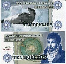 ANTARCTIC TERRITORIES ISLE of BOUVET 10 DOLLARS 2014 POLAR SEAL UNC SERIES B