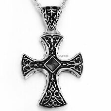 Men's Black Celtic Irish Stainless Steel Cross Pendant Necklace w Cable Chain
