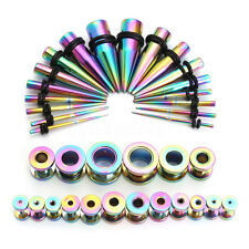 36pcs Taper Kit Rainbow Steel 14G-00G Tapers + Plugs Piercing Ear Stretching Set