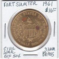 Token - Confederate Centennial - Fort Sumter - 1961 - G/F 50 Cents - 33 MM Brass