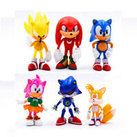 6pcs Toys Set Sonic Action Figures Models Porcupine Shadow Anime Gift Kids Child