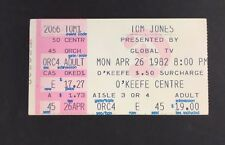 1982 Tom Jones Okeefe Centre Concert Music Ticket Stub Vintage Rock Sony Centre
