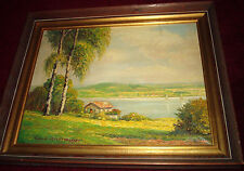 FISHING CABIN Pond boat American landscape oil painting signed FOLK ART