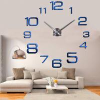 Silent Large 3D DIY Mirror Surface Wall Clock Sticker Home Room Decor_Blue