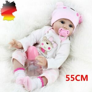 Reborn Baby Puppe Lebensecht Handgefertigt Weich Silikon-Vinyl Mädchen 55cm DHL