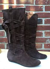 Dolce Vita Amber Suede Knee High Tie Bow Brown Boots SZ 7.5 *