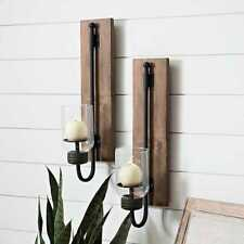 Lankford Wood and Metal Sconces, Set of 2