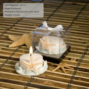 50 Starfish Design Beach Themed Candle Wedding Shower Party Favors