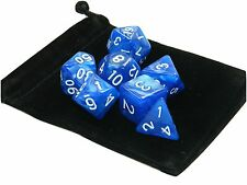 New 7 Piece Polyhedral Pearlescent Overcast Night Blue Dice Set With Bag D&D RPG