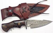 Damascus Hunting Knife W Wood Handle & Leather Sheath Bobcat Knife EDC Buck
