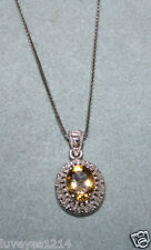 Ross Simons Sterling silver Yellow Citrine filigree Pendant box chain Necklace