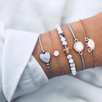 5Pcs/Set Women Love Heart Crystal Sea Turtle Weave Rope Beads Bracelet Jewelry