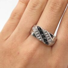 925 Sterling Silver Real Diamond Men's Ring Size 10 3/4