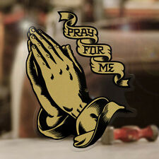 """Praying Hands sticker decal pray for me skate surf surfing aircooled gold 3.5"""""""