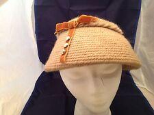 Vintage Ladies Hat Everitt Nedlepoint Original Brown Wool Yarn W/ Velour Accent