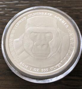 2016 The Congo .999 1 Troy Oz. Fine Silver Gorilla Bullion Coin - One Coin