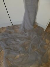 """1M  grey /GOLD PEARLS BEADED  BRIDAL TULLE FABRIC 45"""" WIDE"""