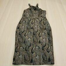 H&M WOMEN'S HALTER KEYHOLE TEXTURED SNAKESKIN BACK ZIP DRESS SIZE US 10
