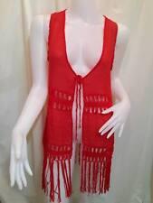 CROCHET SHIRT tops tank VEST WOMEN cord FRINGE Knit sleeveless hippie BOHO RED