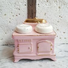 Vintage Pink Oven White Stove Stackers Pullout Gold Detail Salt & Pepper Shakers