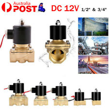 """DC 12V 1/2"""" 3/4"""" Electric Solenoid Valve Water Gas Oil Brass Normally Closed AU"""