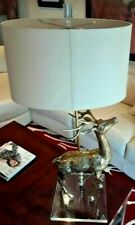 """Brass Deer Sculpture Table Lamp on Lucite Base24"""" Tall 1970's Hollywood Regency"""