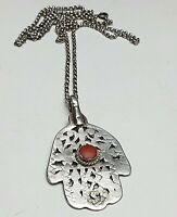 BIG - Hand der Fatima Schutzamulett 800 Silber Koralle Tunesien Nordafrika /A459