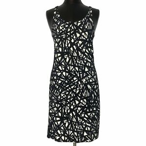 Norma Kamali for Everlast Black Off White Printed Casual Tank Dress Size M