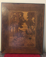 Antique Victorian Hand Made Inlaid Picture Depicting Terriers Hunting Scene