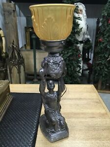 ANTIQUE SPELTER ART DECO FIGURAL LADY TABLE LAMP STUNNING