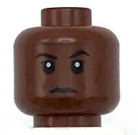 Lego New Reddish Brown Minifigure Head with Black Eyebrows and White Pupils